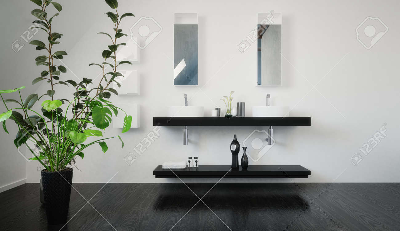 Wall Mount Double Vanity Stylish Black Wall Mounted Double Vanity Unit With Shelf Below