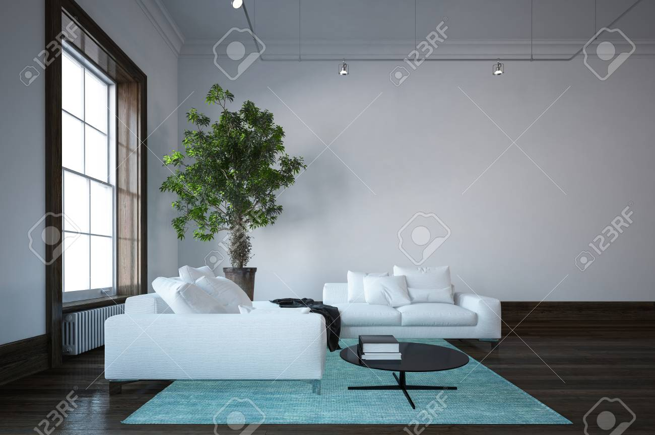 Minimalist Living Space Spacious Living Room Minimalist Design Interior With White Couches
