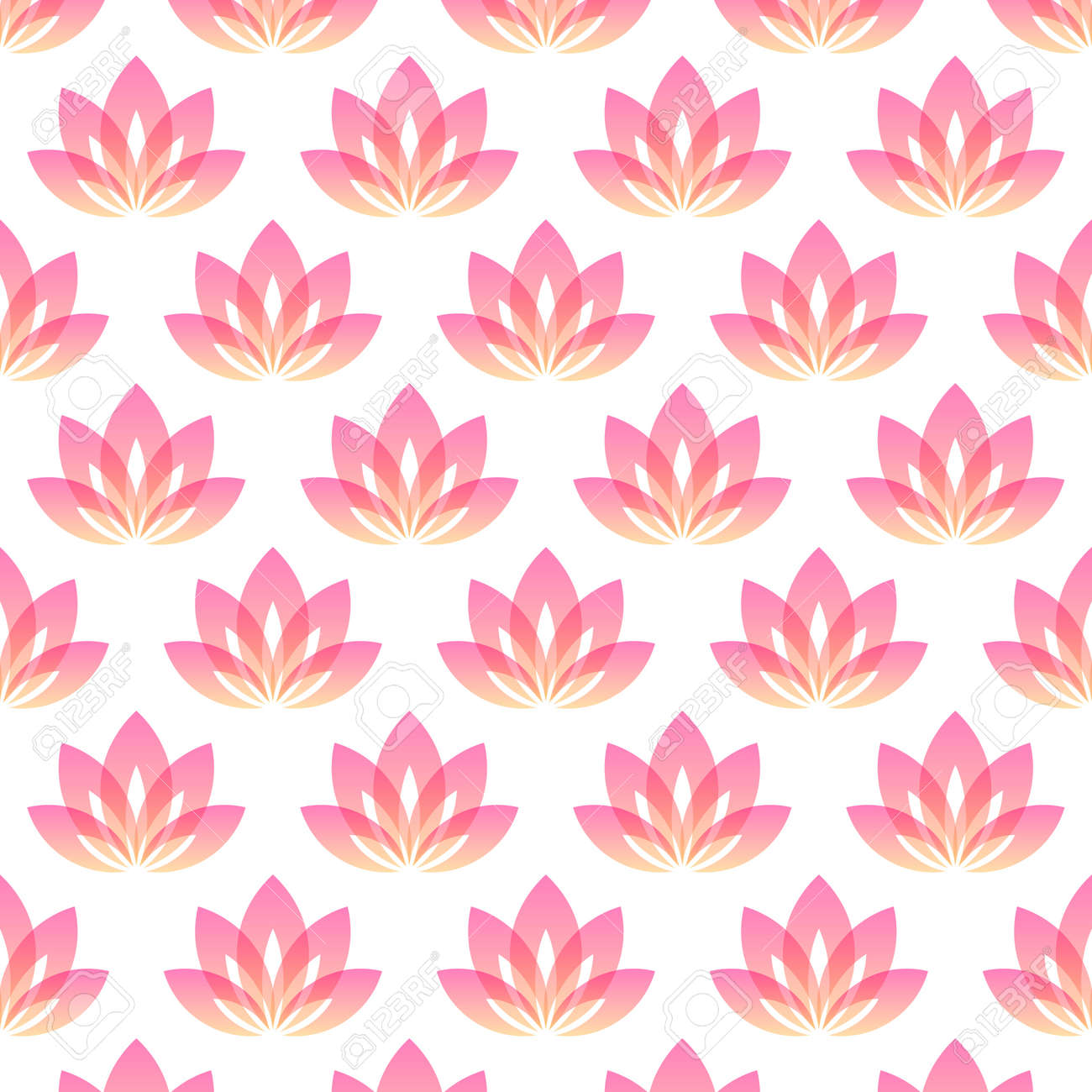 Seamless pattern with five petals lotus flower as symbol of yoga vector background for