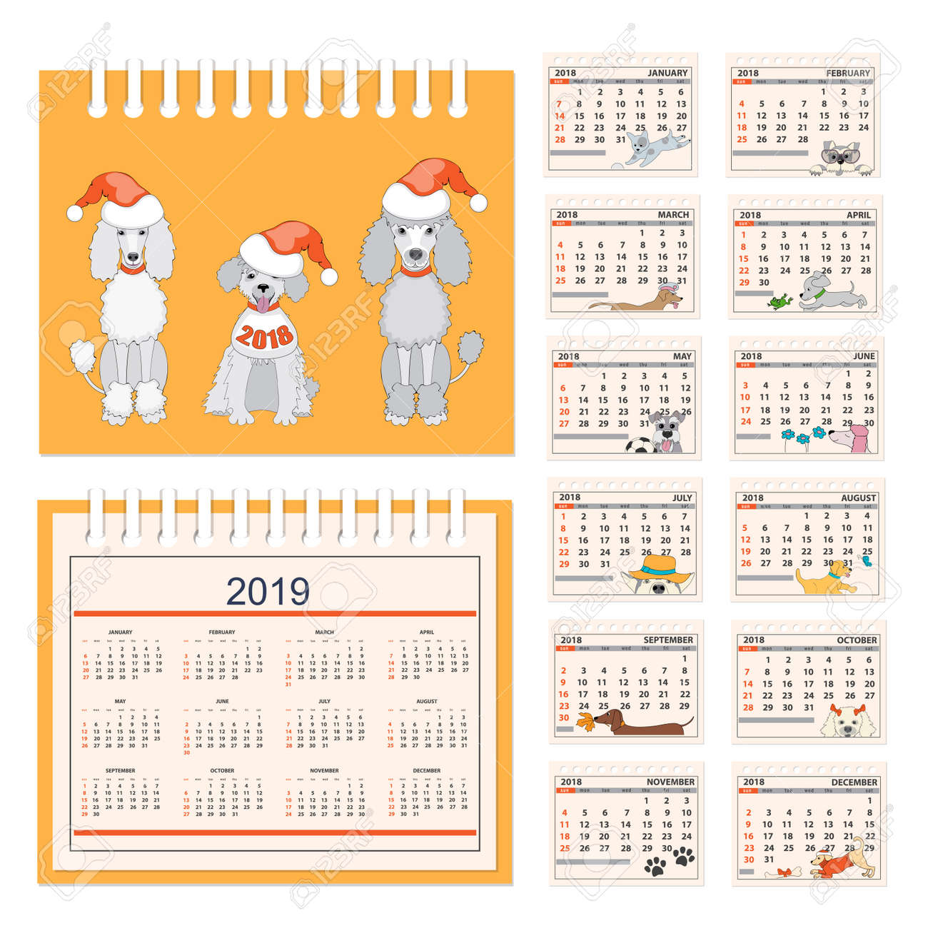 Los Mese Del Año En Ingles Business American Calendar For Desk On 2018 Year Set Of The
