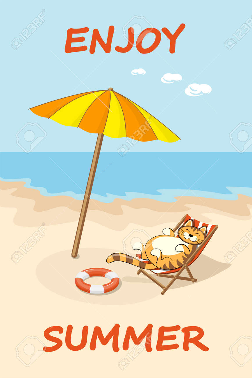 Sonnenliege Clipart Colorful Drawn Cartoon Cat On The Beach In The Sunlounger Summer