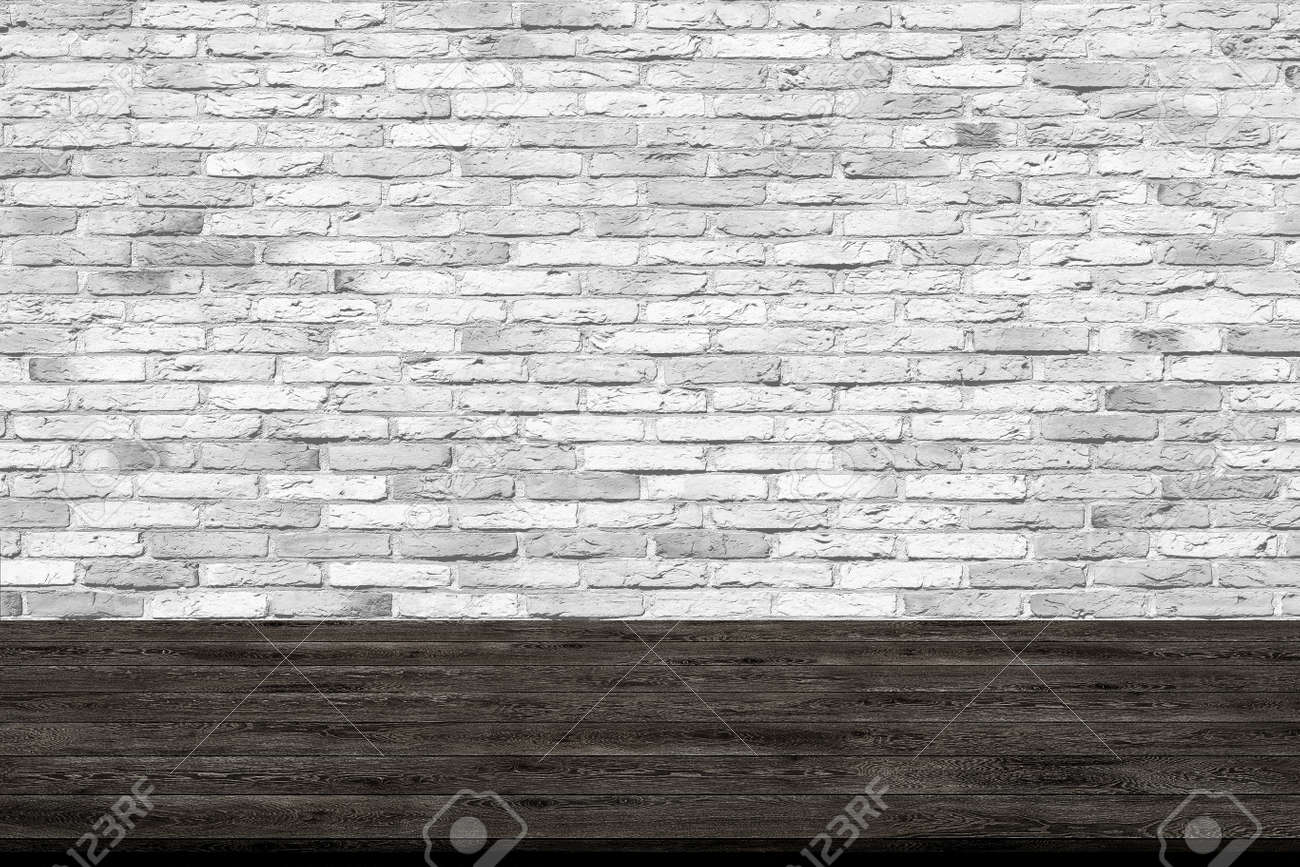 Adding Brick Wall Interior Abstract Wooden Table Texture On Brick Wall Background For Graphic