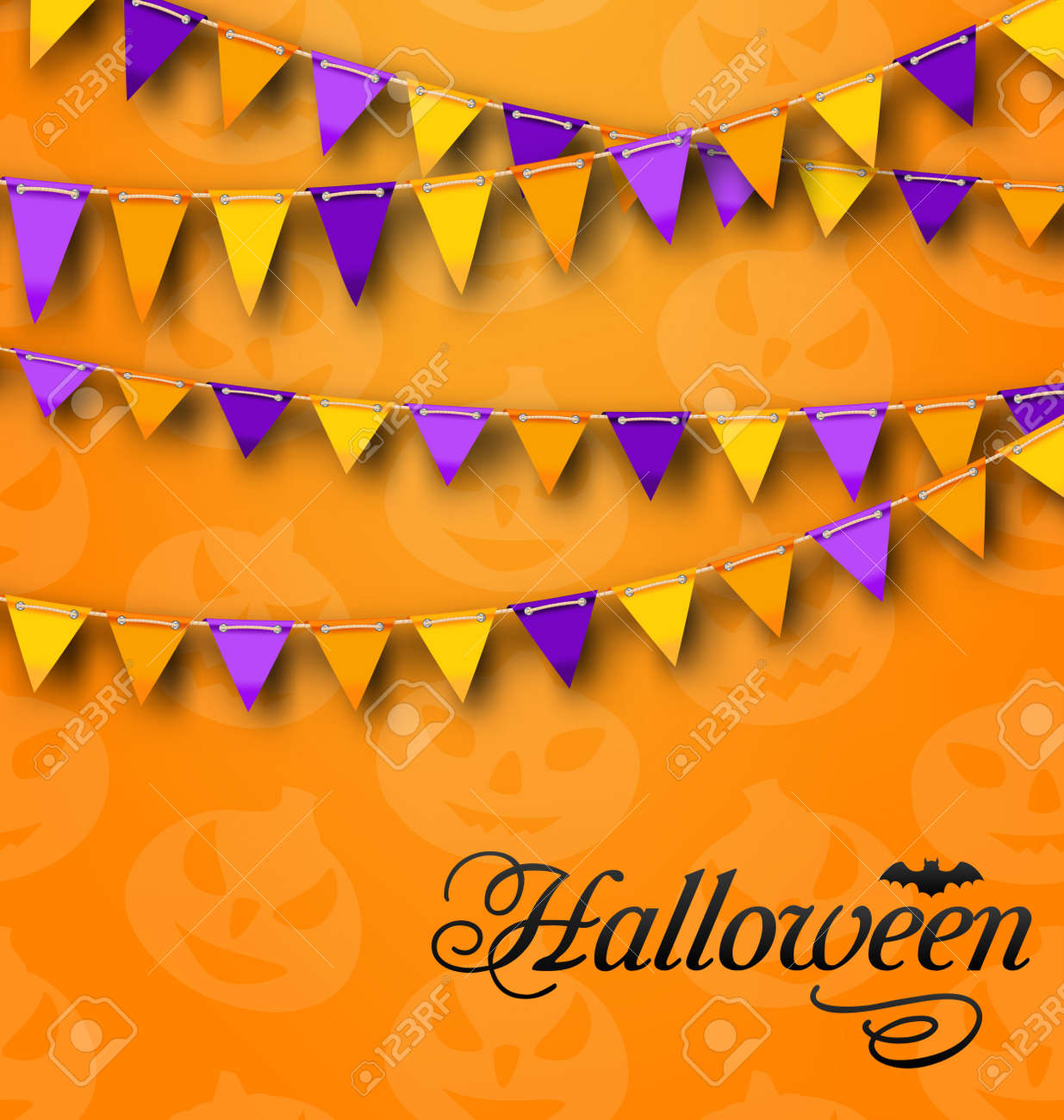 Party Feier Illustration Dekoration Mit Bunten Bunting Wimpel Für Halloween Party Feier Hintergrund