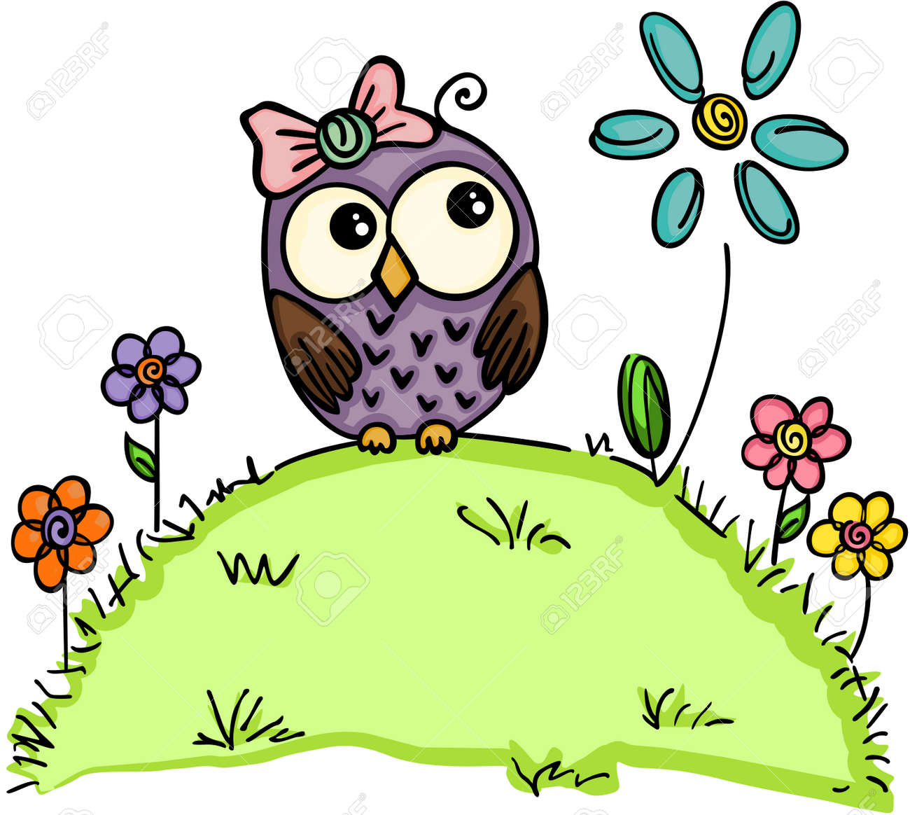Garten Design Owl Cute Owl In A Garden With Flowers
