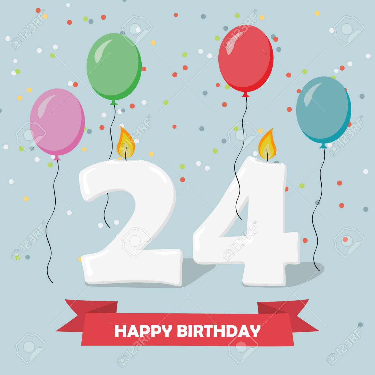 24 Years Celebration Happy Birthday Greeting Card With Candles Royalty Free Cliparts Vectors And Stock Illustration Image 94134868