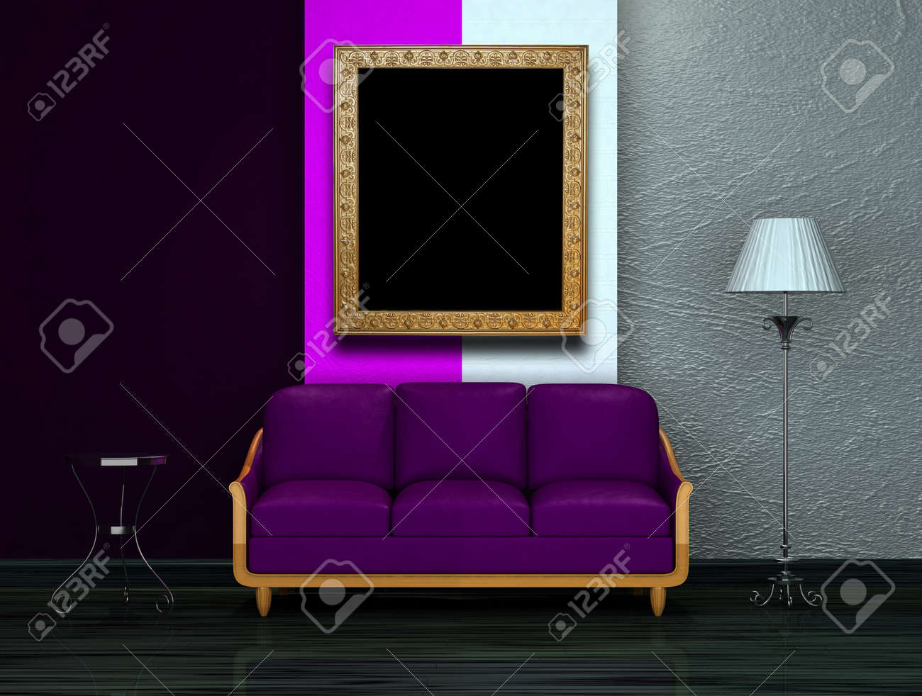 Lila Couch Stock Photo
