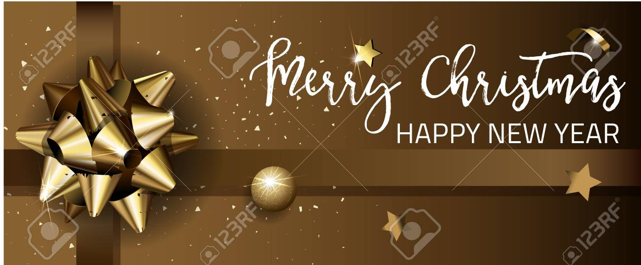 Merry Christmas Or Happy New Year Web Banner Design Template