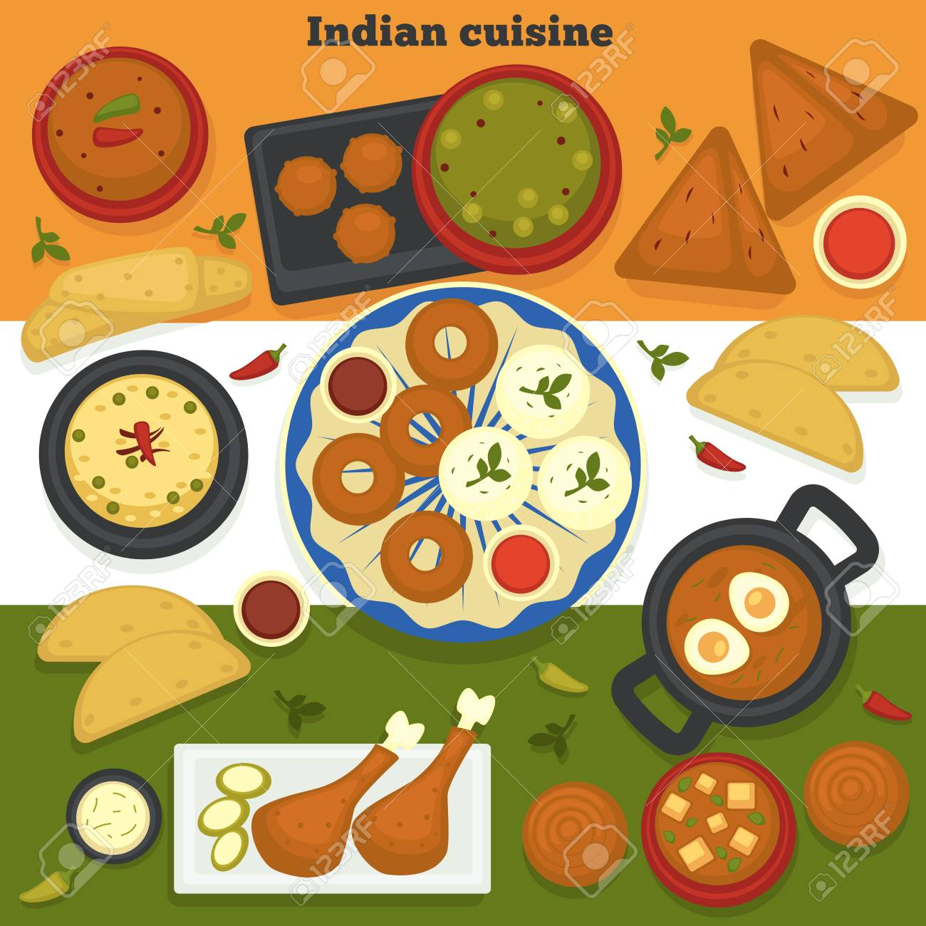 Cuisine India India Food Indian Cuisine Meat And Bakery Products Vector Curry