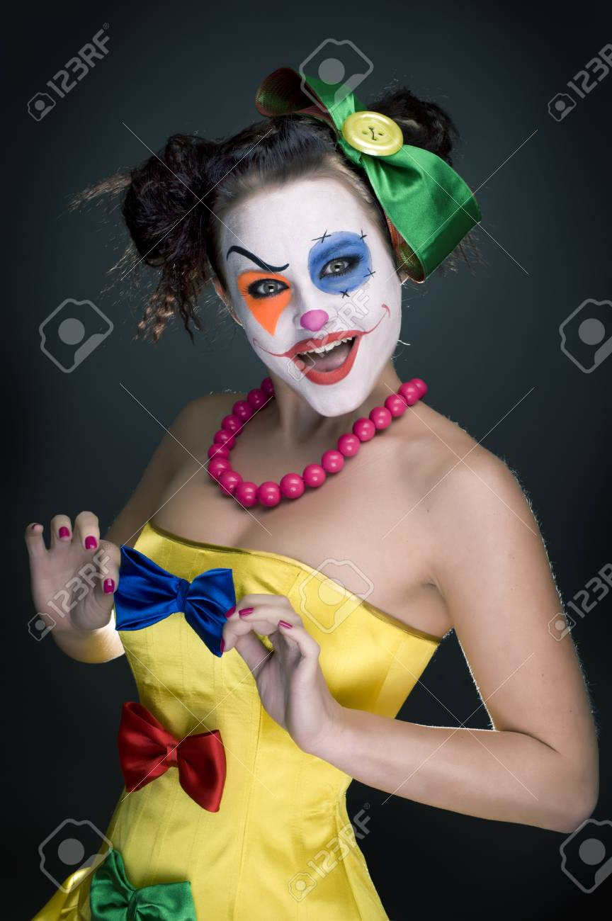 Clown Schminken Suess Stock Photo