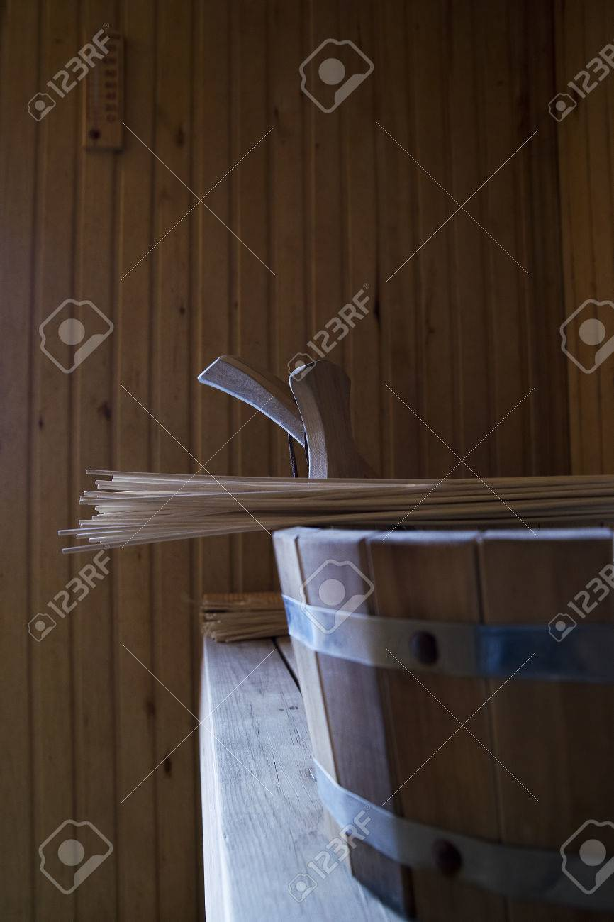 Holz Accessoires Bad Stock Photo