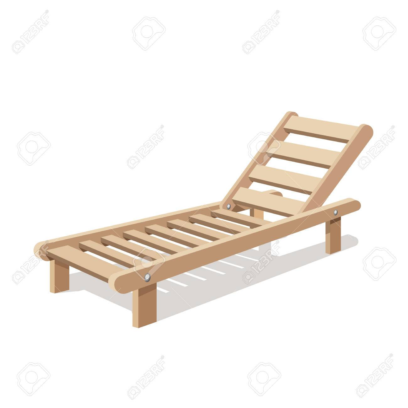 White Plastic Sun Loungers Sun Lounger Vector Isolated On White Background Wooden Chair