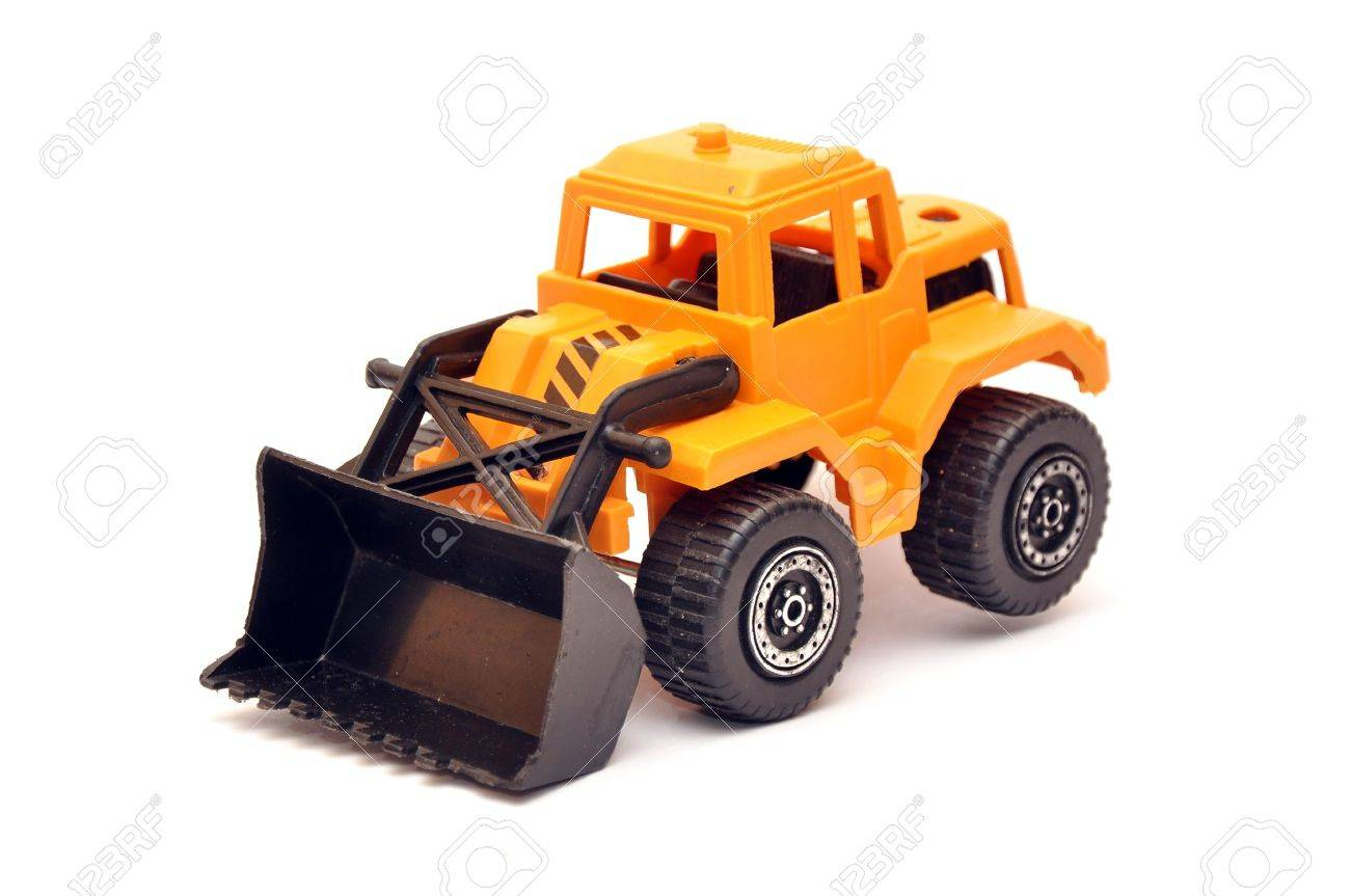 Digger Toy Yellow Toy Digger Over A White Background With Soft Shadow