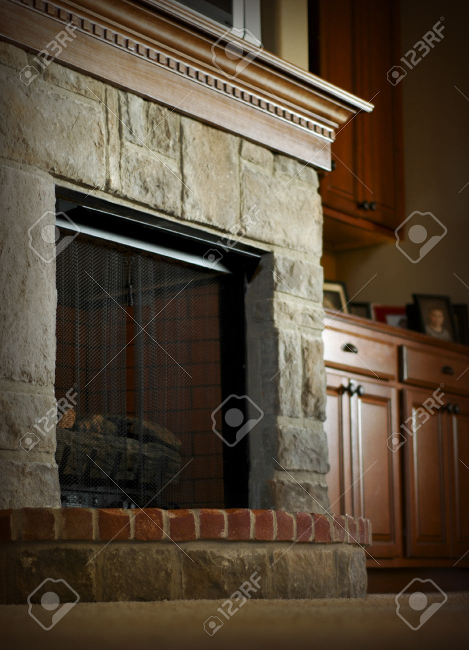 Brick Fireplace Wood Mantel Stone And Brick Fireplace With Wooden Mantel