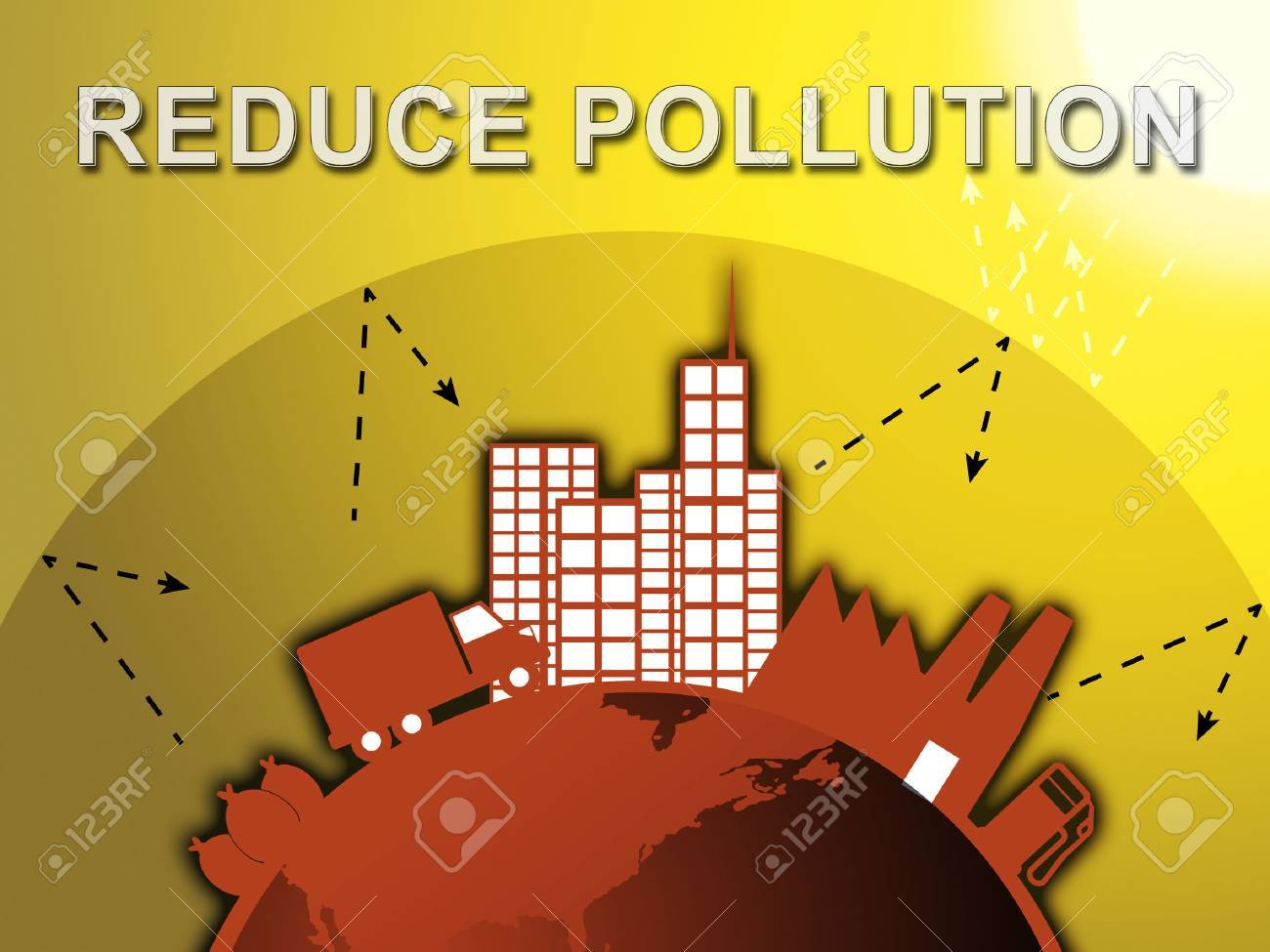 How To Reduse Pollution Reduce Pollution Around City Shows Stopping Filth 3d Illustration