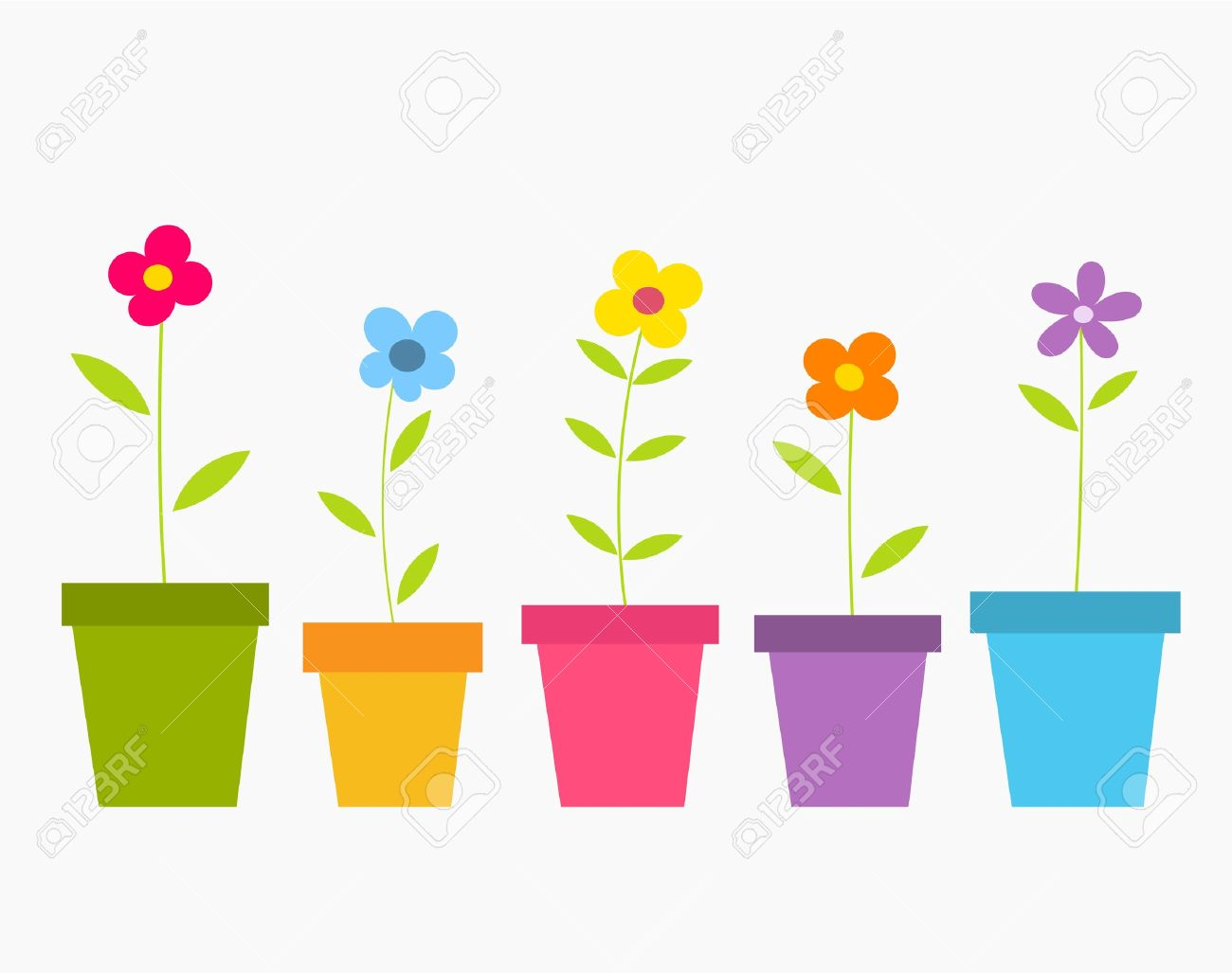 Spring Töpfe Cute Spring Bunte Blumen In Töpfen Vector Illustration