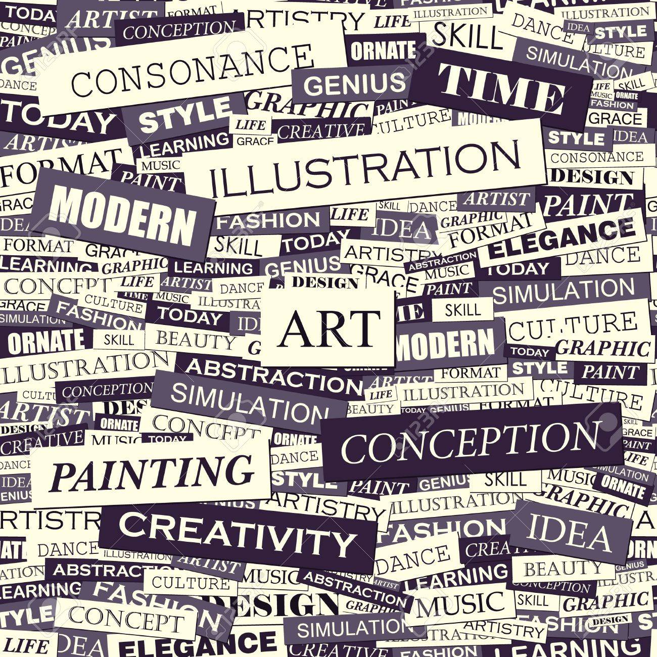 Arte Definition Francais Art Word Collage Seamless Vector Pattern