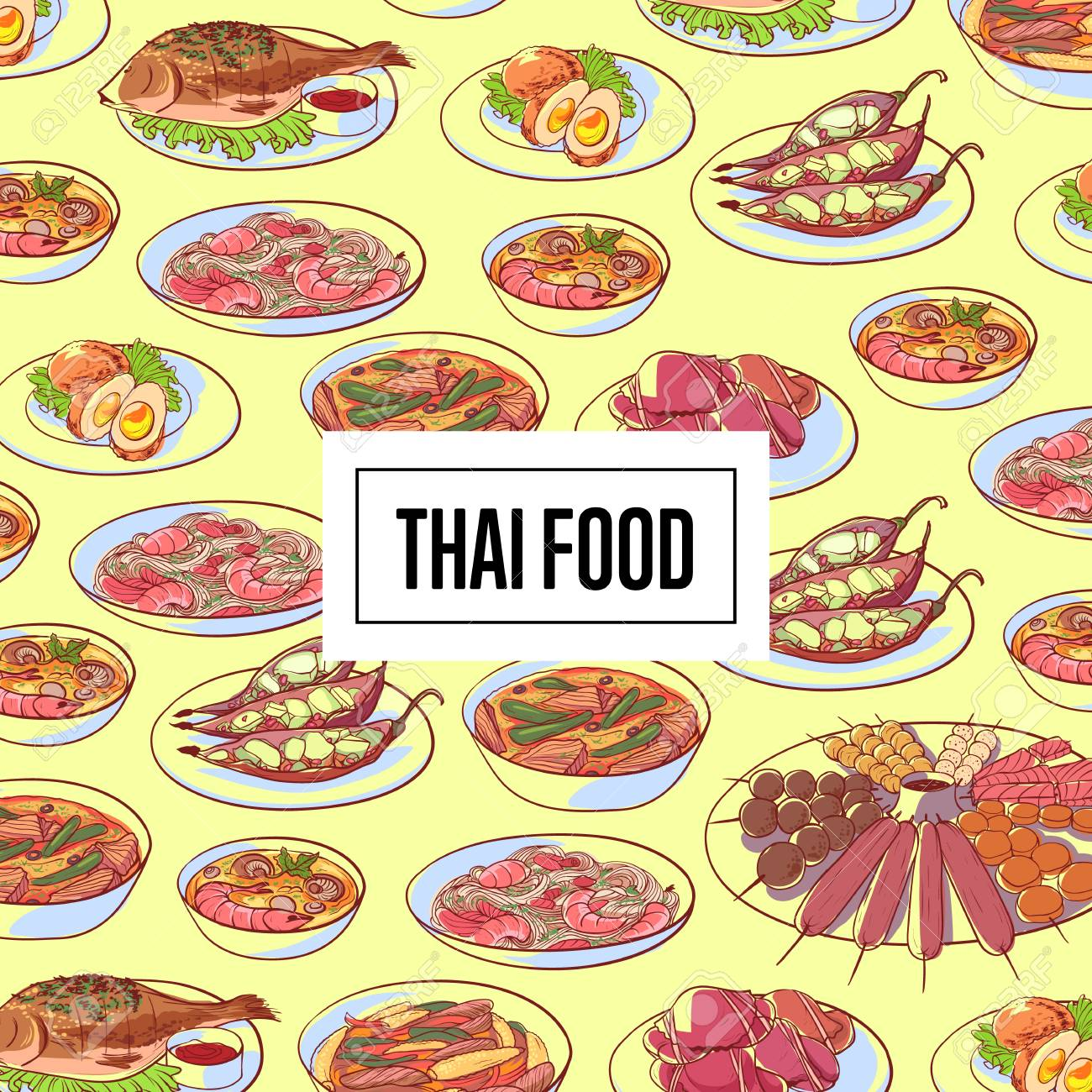 Element Cuisine Thai Food Poster With Asian Cuisine Dishes Restaurant Menu Element