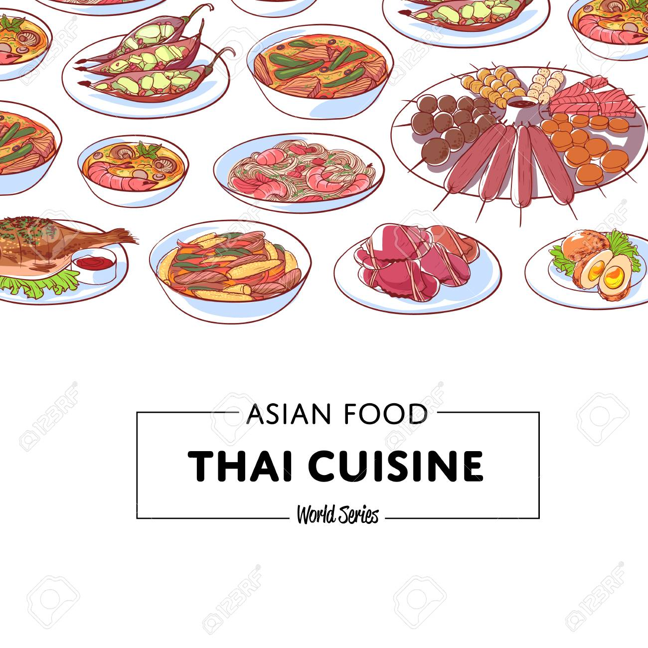 Element Cuisine Thai Cuisine Poster With Famous Asian Dishes Restaurant Menu