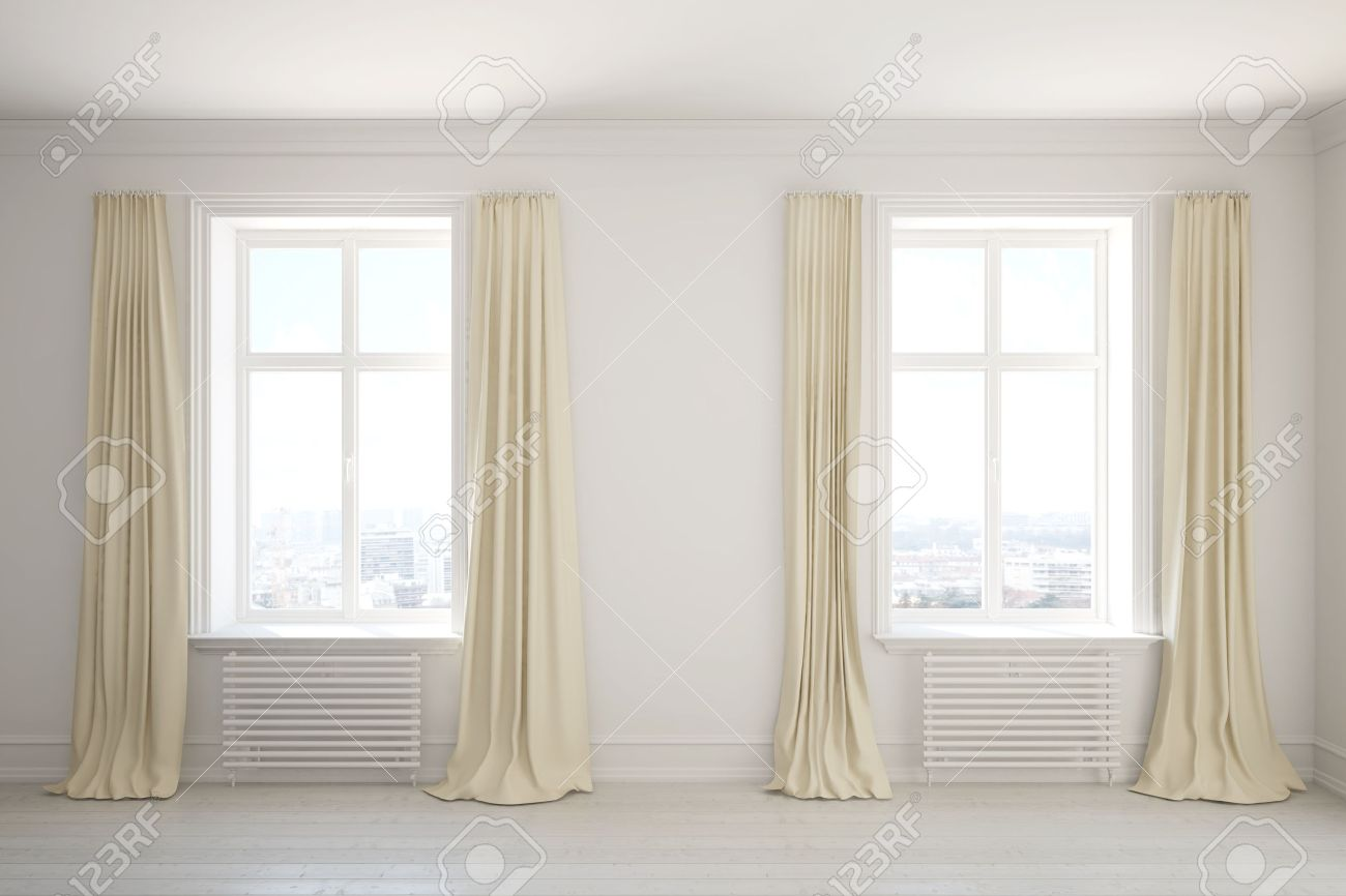 Curtains For Long Windows Empty Room With Long Curtains On The Windows