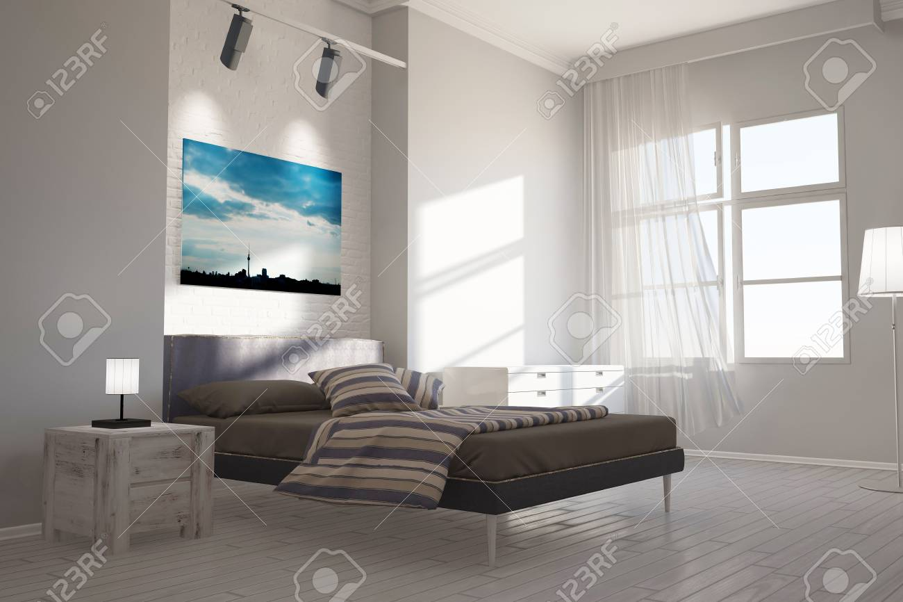 Schlafzimmer Leinwand Stock Photo
