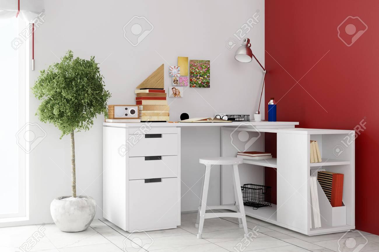 Bureau dans le salon cuisine salle a manger et salon dans une