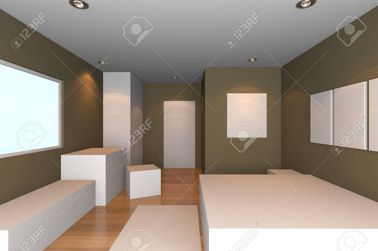 Schlafzimmer Wand Braun Stock Photo