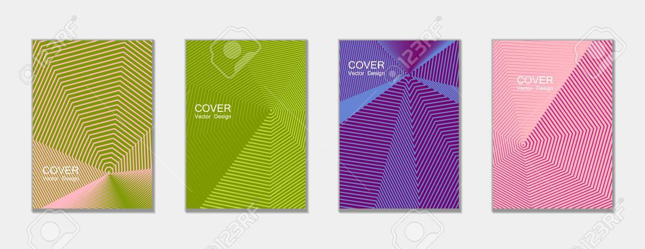 Halftone Vector Cover Templates Set With Lines Graphics Tech