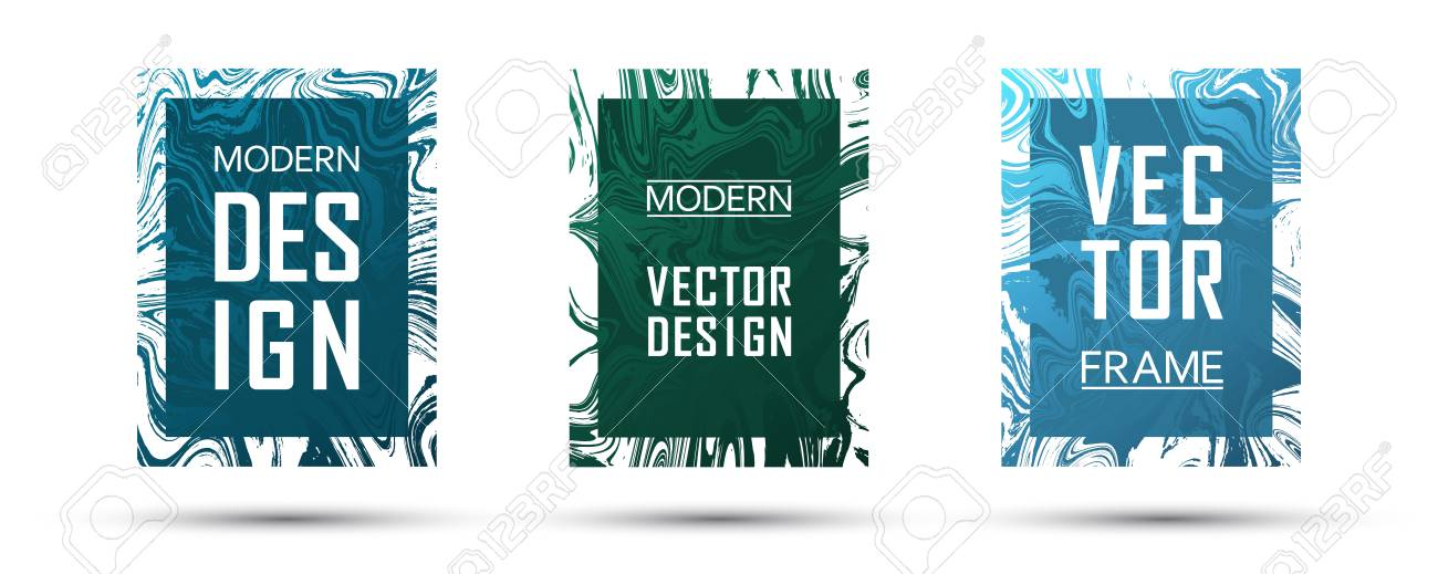 Marble Frame Vector Design Set Flowing Gift Vouchers, Business