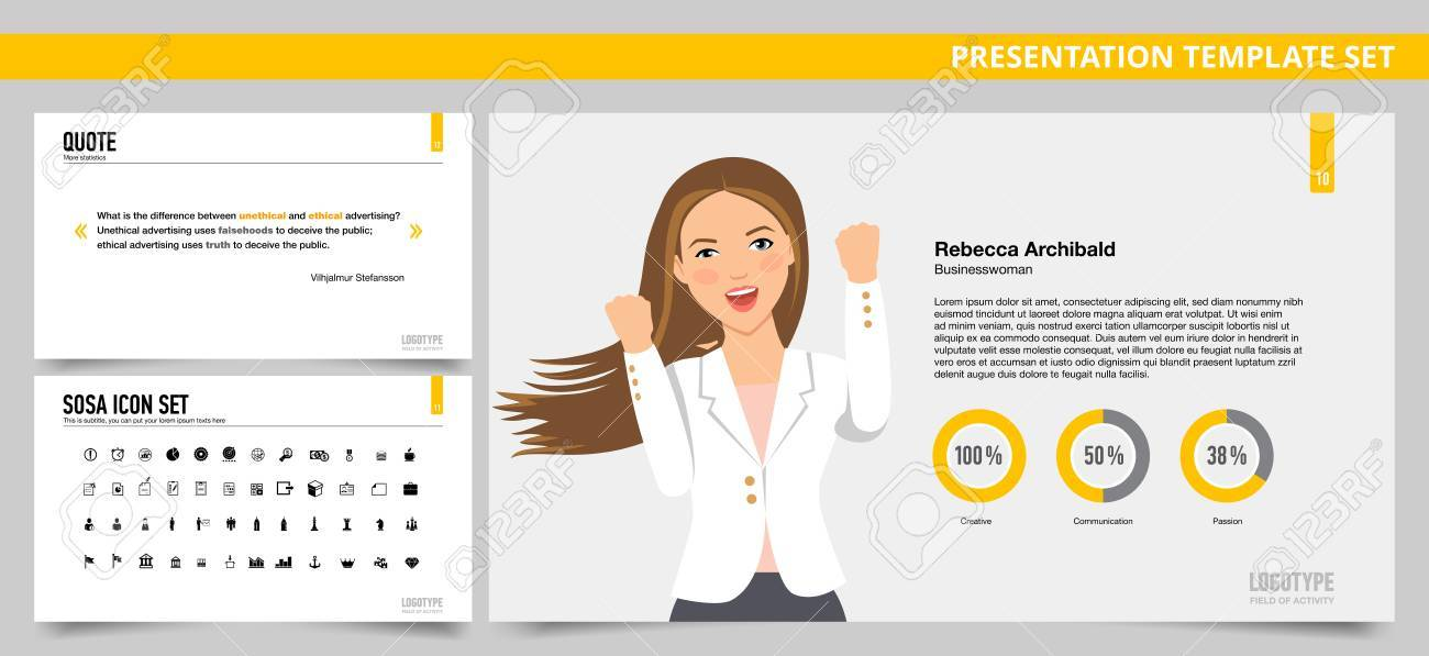 Set Of Vector Infographic Presentation Templates With Quote Slide - quote on presentation