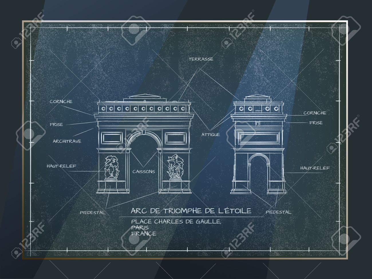 Vintage Architectural Blueprints Old Style Architectural Blueprint Technical Drawing Of Arc De