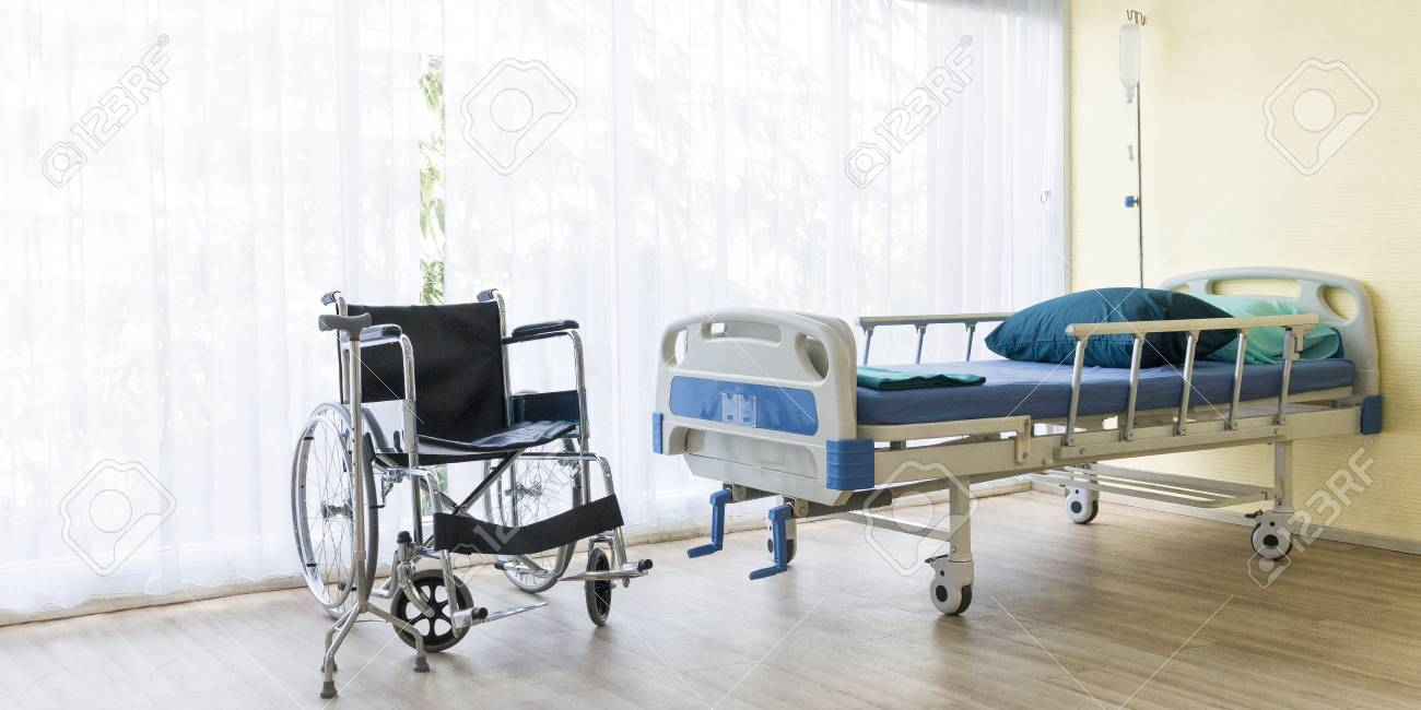 Bed Wheelchair Hospital Room With Empty Bed Infusion Set Intravenous Fluid