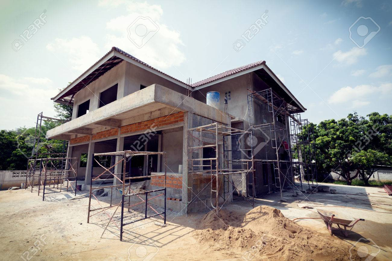 To Residential Construction Building Residential Construction House With Scaffold Steel For