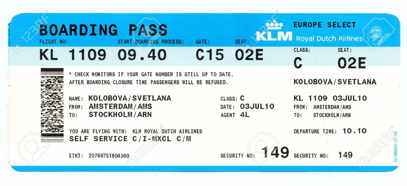 ... Ticket Template 36460059 Boarding Pass Of KLM Royal Dutch Airlines  ...  Airline Ticket Template Word