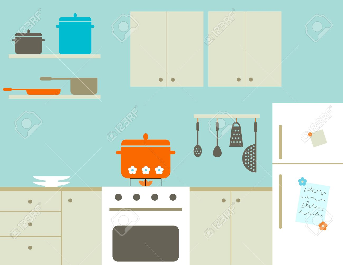 100+ [ Kitchen Cartoon ] | Cartoon Apartment Kitchen Interior House ...