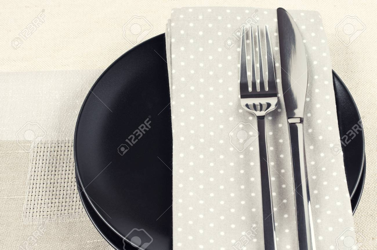 Schwarze Servietten Stock Photo