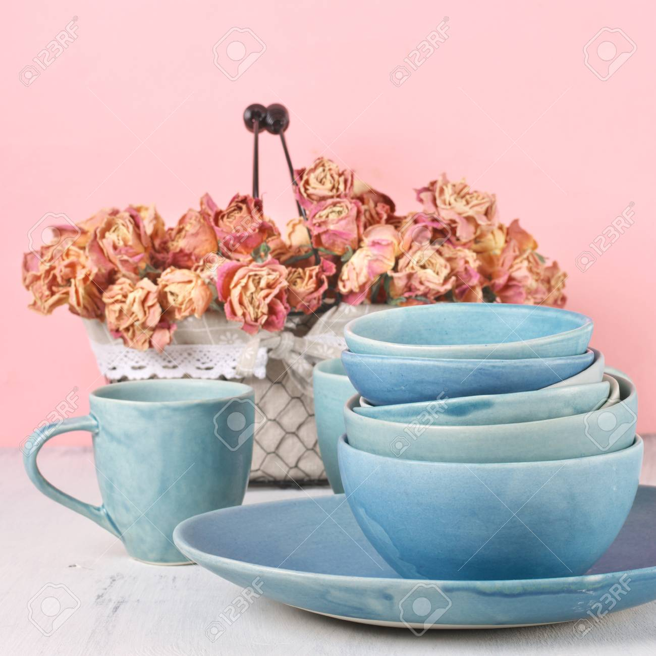 Geschirr Rosen Stock Photo