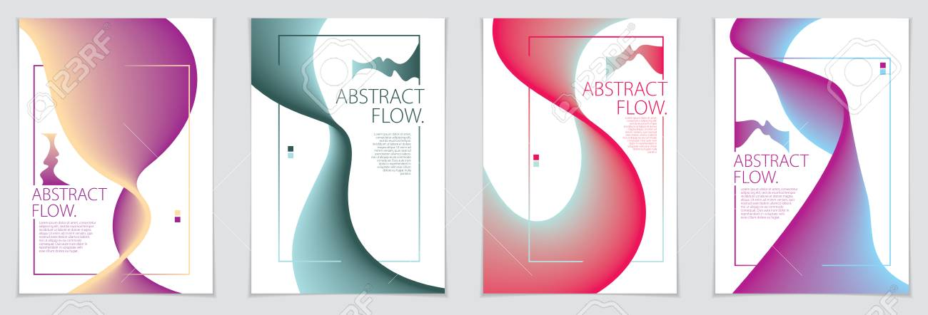 Abstract Flow Fluid Shape Vector Backgrounds Set A4 Print Format - guidebook template