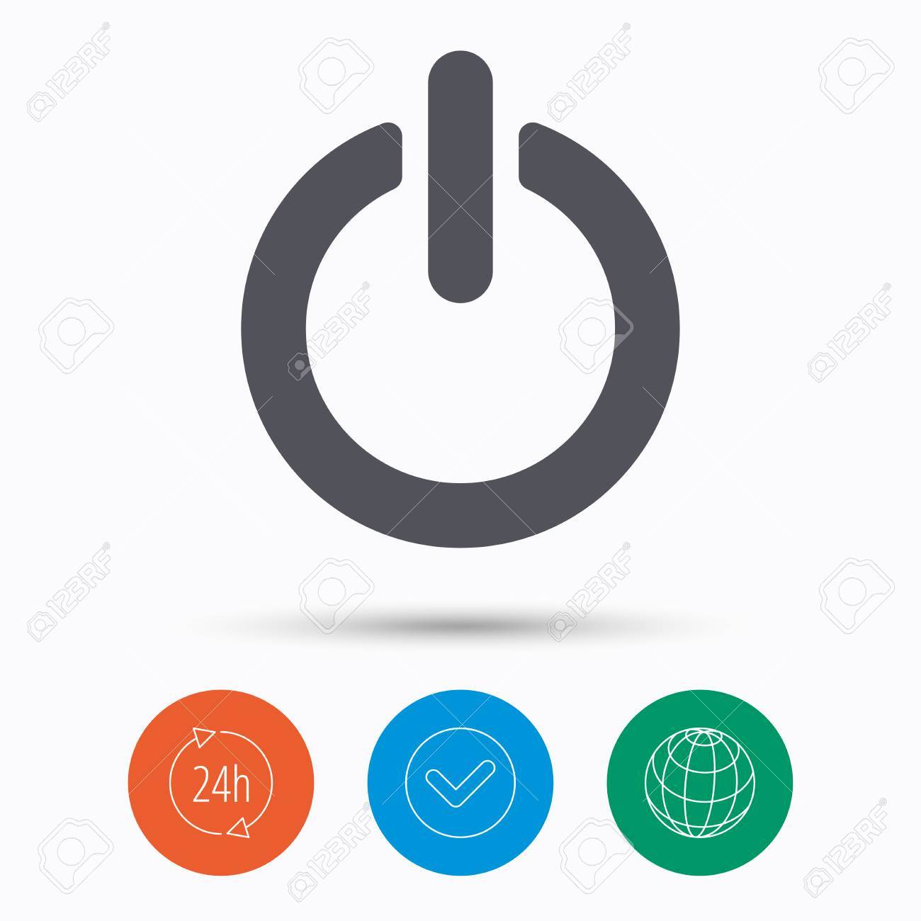 24 Internet On Off Power Icon Energy Switch Symbol Check Tick 24 Hours Service And Internet Globe Linear Icons On White Background Vector
