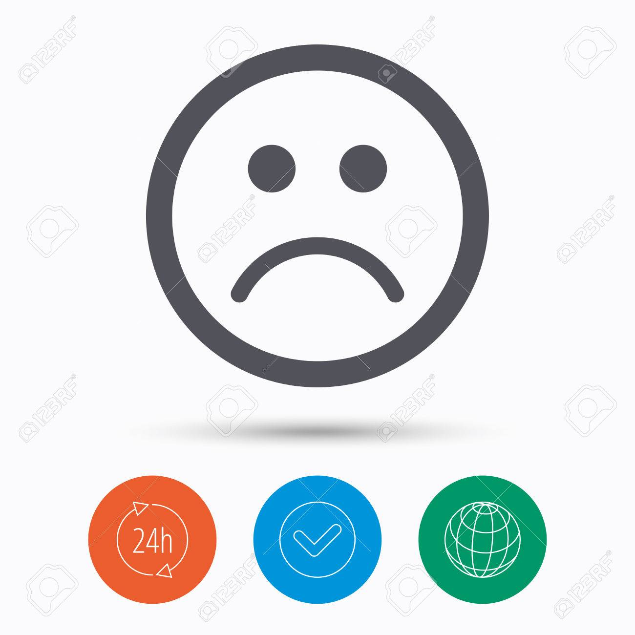 Bad 24 Sad Smiley Icon Bad Feedback Symbol Check Tick 24 Hours Service