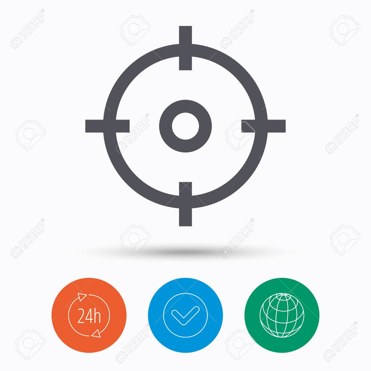 24 Internet Target Icon Crosshair Aim Symbol Check Tick 24 Hours Service And Internet Globe Linear Icons On White Background Vector