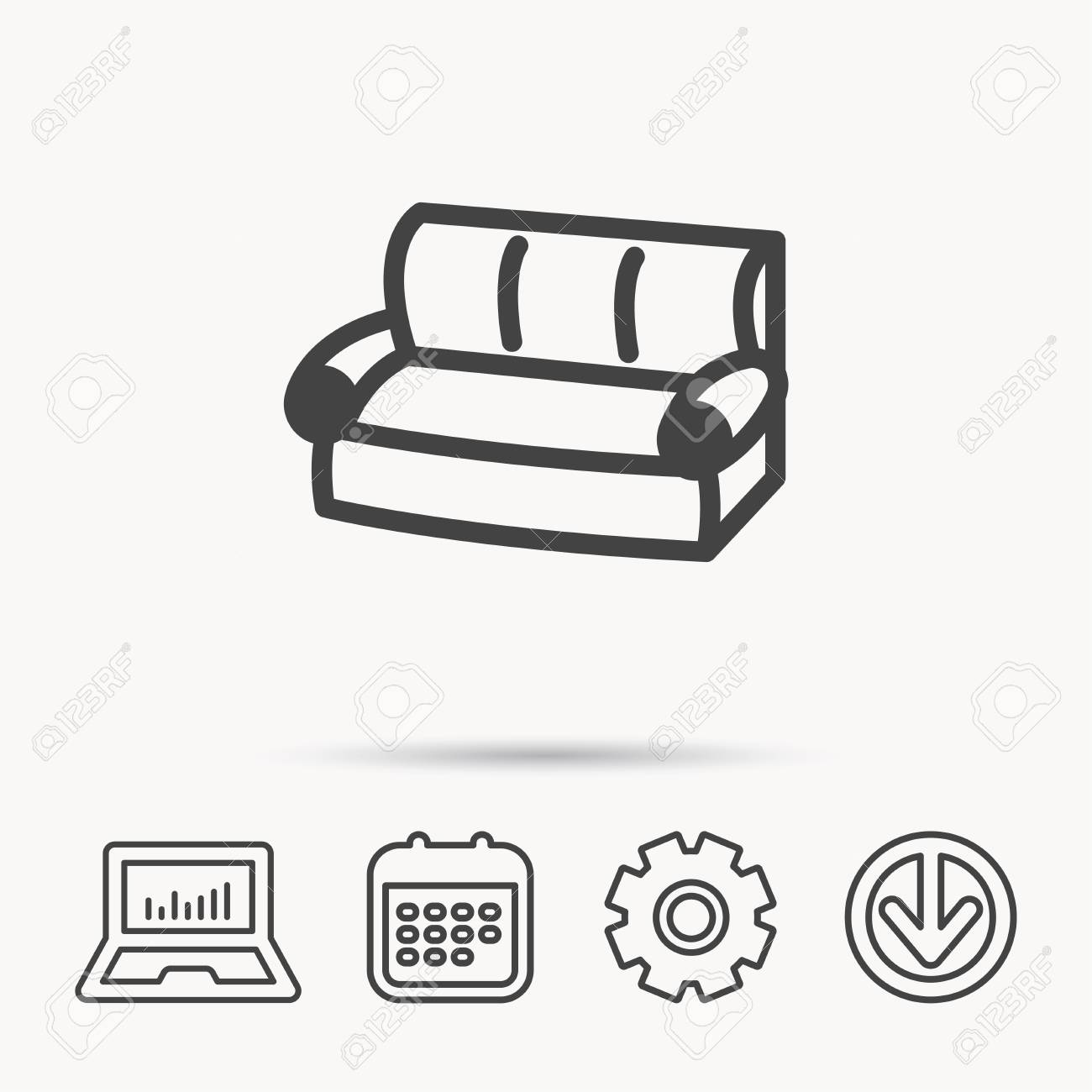 Sofa Set Vector Free Download Sofa Icon Comfortable Couch Sign Furniture Symbol Notebook