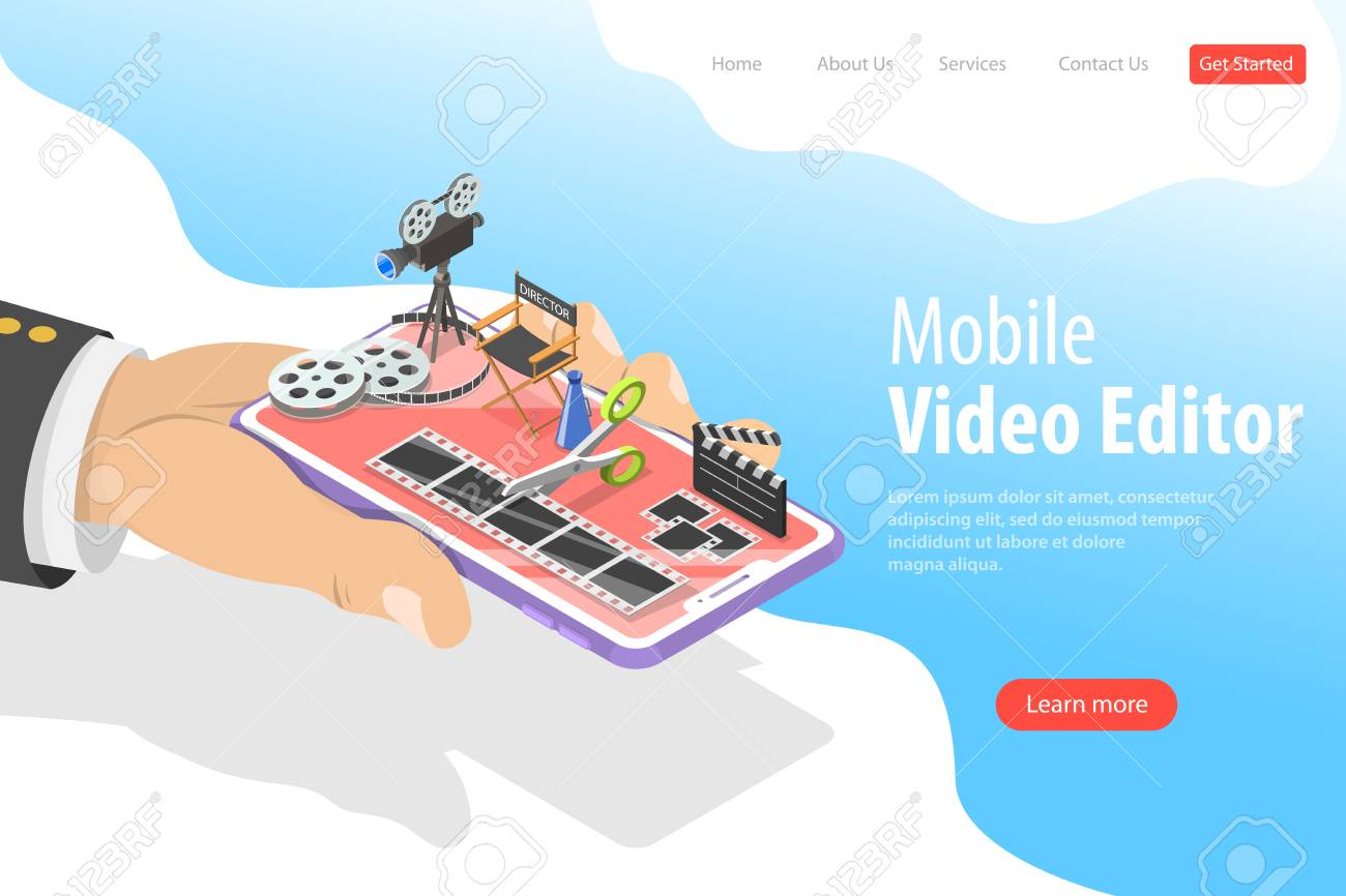 Editor Video Libre Isometric Flat Vector Landing Page Template Of Video Editing App