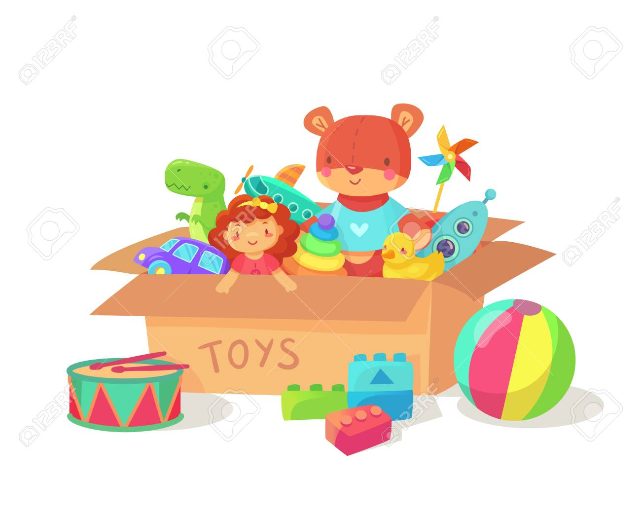Toy Box Toys Cartoon Kids Toys In Cardboard Toy Box Children Holiday Gift