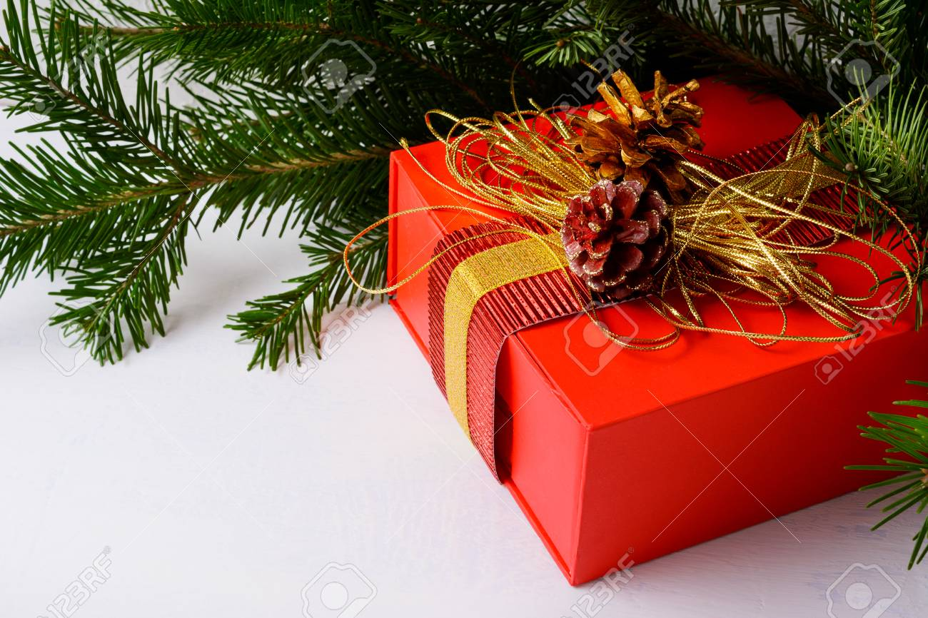 Christmas Background Gif Christmas Background With Golden Decorated Red Gift Box Christmas
