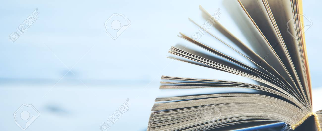 Open Book Pages On A Light Background Stock Photo, Picture And