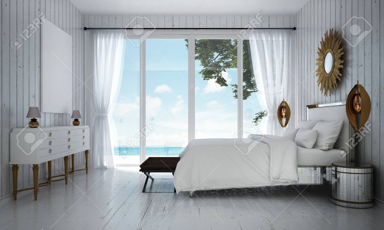 Luxusvilla Innen Schlafzimmer Stock Photo