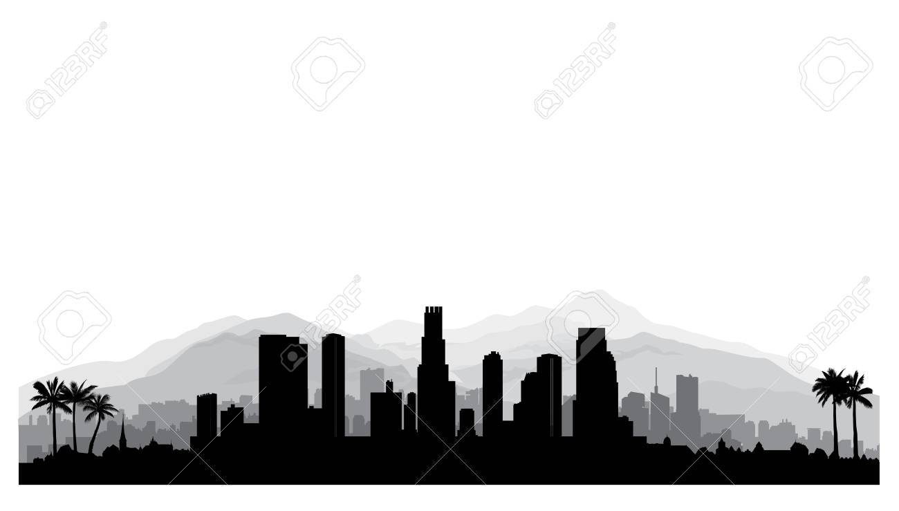 Intriguing Los Usa City Silhouette Skyscraper Buildings Los Angeles Skyline Silhouette Vector Palm Trees Los Usa City Silhouette Skyscraper houzz-02 Los Angeles Skyline Silhouette