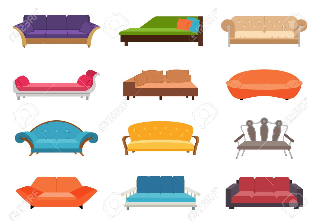 Sofa Vector Free Sofa Colored Vector Set Comfortable Couch Collection Isolated