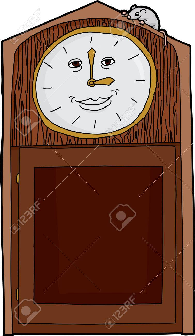 Standuhr Digital Isolated Grinning Grandfather Clock With Mouse On Top