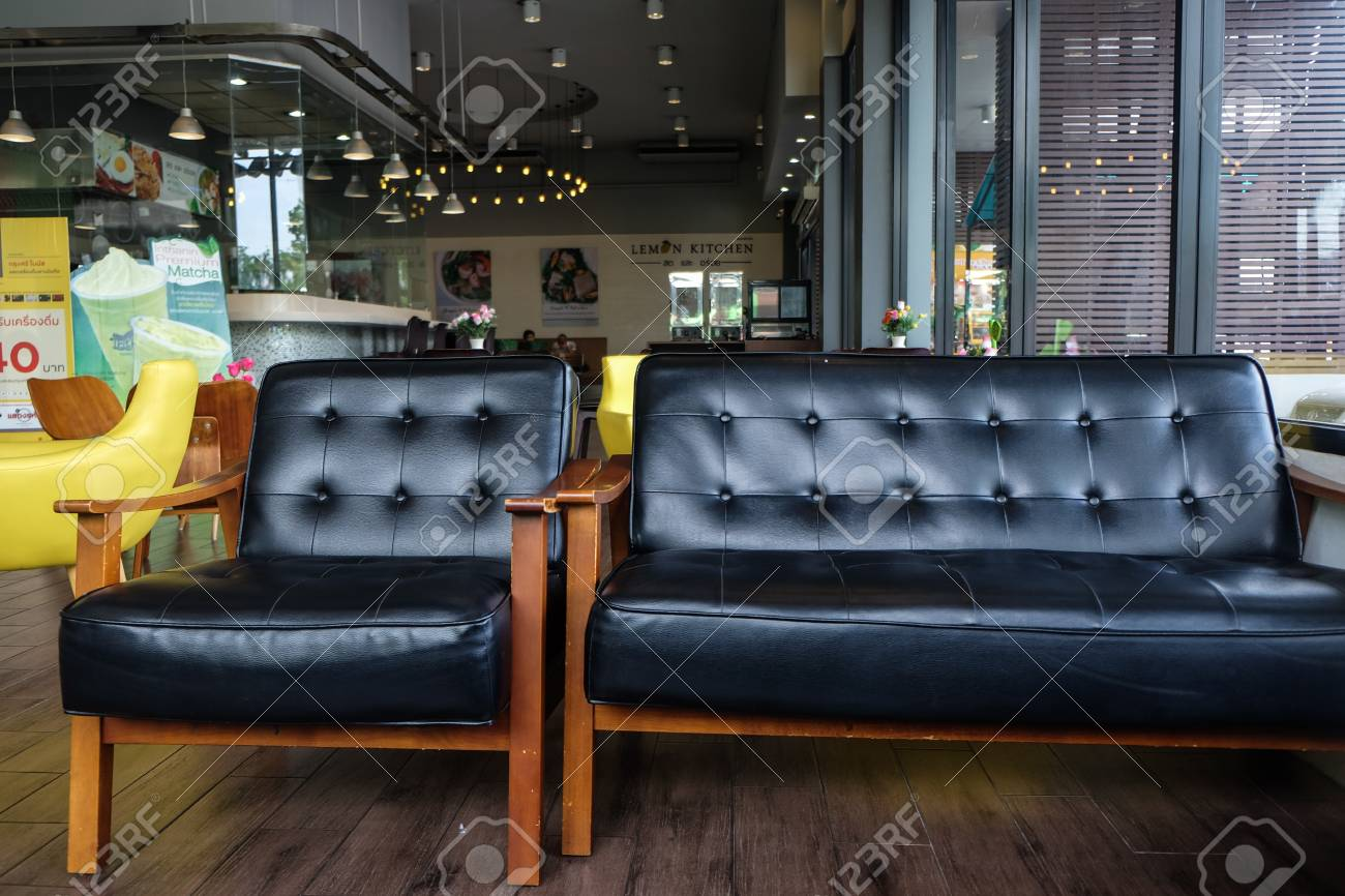 Vintage Café Luxury Leather Sofa Wood Arm In Vintage Cafe Interior Furniture